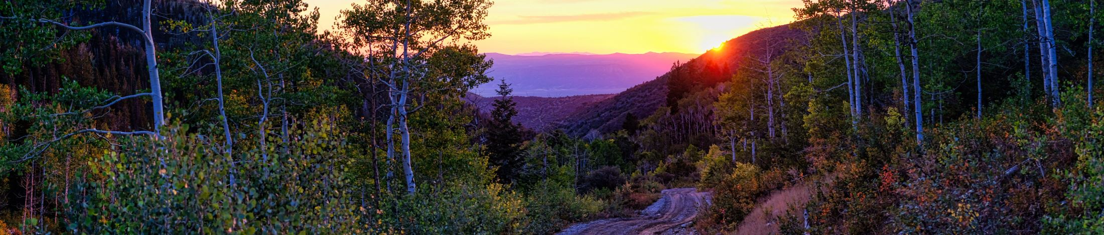 Mountain canyon with sunset
