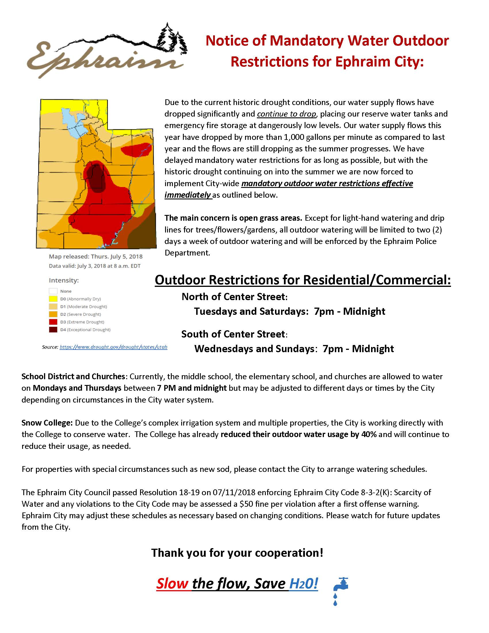 Notice of Mandatory Water Outdoor Restrictions Ephraim, Historic Drought